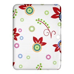 Colorful Floral Wallpaper Background Pattern Samsung Galaxy Tab 4 (10.1 ) Hardshell Case
