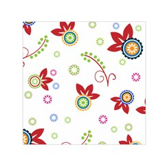 Colorful Floral Wallpaper Background Pattern Small Satin Scarf (square)