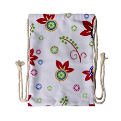 Colorful Floral Wallpaper Background Pattern Drawstring Bag (Small)