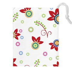 Colorful Floral Wallpaper Background Pattern Drawstring Pouches (xxl)