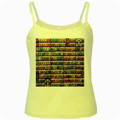 Flower Seeds For Sale At Garden Center Pattern Yellow Spaghetti Tank