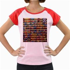 Flower Seeds For Sale At Garden Center Pattern Women s Cap Sleeve T-Shirt