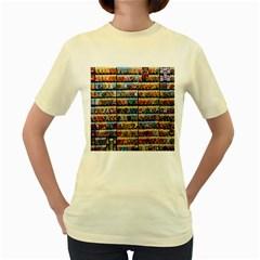 Flower Seeds For Sale At Garden Center Pattern Women s Yellow T-Shirt