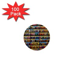 Flower Seeds For Sale At Garden Center Pattern 1  Mini Buttons (100 pack)