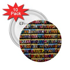 Flower Seeds For Sale At Garden Center Pattern 2 25  Buttons (10 Pack)