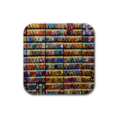 Flower Seeds For Sale At Garden Center Pattern Rubber Coaster (square)