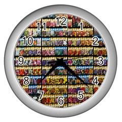 Flower Seeds For Sale At Garden Center Pattern Wall Clocks (Silver)
