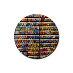 Flower Seeds For Sale At Garden Center Pattern Rubber Round Coaster (4 Pack)