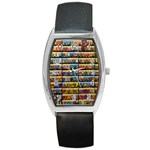 Flower Seeds For Sale At Garden Center Pattern Barrel Style Metal Watch Front