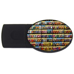 Flower Seeds For Sale At Garden Center Pattern Usb Flash Drive Oval (4 Gb)