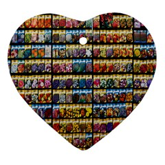 Flower Seeds For Sale At Garden Center Pattern Heart Ornament (two Sides)