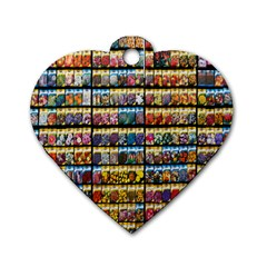 Flower Seeds For Sale At Garden Center Pattern Dog Tag Heart (two Sides)
