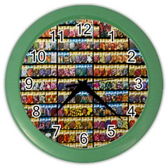 Flower Seeds For Sale At Garden Center Pattern Color Wall Clocks