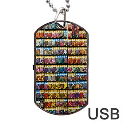 Flower Seeds For Sale At Garden Center Pattern Dog Tag USB Flash (One Side)