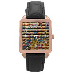 Flower Seeds For Sale At Garden Center Pattern Rose Gold Leather Watch