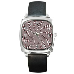 Digital Fractal Pattern Square Metal Watch