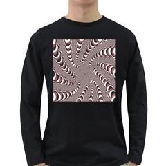 Digital Fractal Pattern Long Sleeve Dark T Shirts