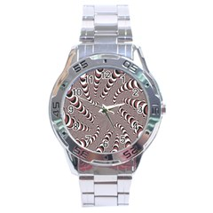 Digital Fractal Pattern Stainless Steel Analogue Watch