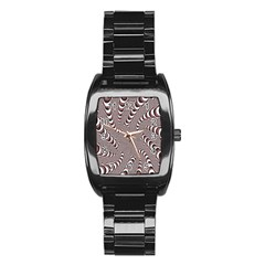 Digital Fractal Pattern Stainless Steel Barrel Watch