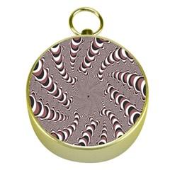 Digital Fractal Pattern Gold Compasses