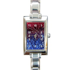 Autumn Fractal Forest Background Rectangle Italian Charm Watch