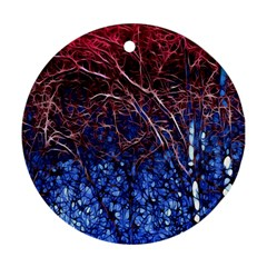 Autumn Fractal Forest Background Ornament (round)
