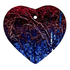Autumn Fractal Forest Background Ornament (Heart)