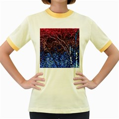 Autumn Fractal Forest Background Women s Fitted Ringer T-Shirts