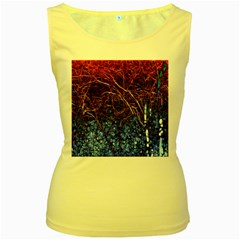 Autumn Fractal Forest Background Women s Yellow Tank Top