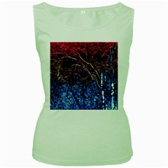 Autumn Fractal Forest Background Women s Green Tank Top