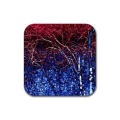 Autumn Fractal Forest Background Rubber Coaster (square)