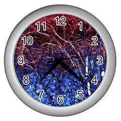 Autumn Fractal Forest Background Wall Clocks (Silver)