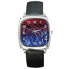 Autumn Fractal Forest Background Square Metal Watch