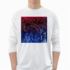 Autumn Fractal Forest Background White Long Sleeve T-Shirts