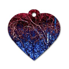 Autumn Fractal Forest Background Dog Tag Heart (one Side)