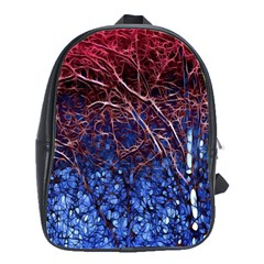 Autumn Fractal Forest Background School Bags(Large)