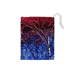 Autumn Fractal Forest Background Drawstring Pouches (small)