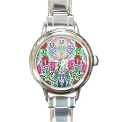 Wallpaper Created From Coloring Book Round Italian Charm Watch