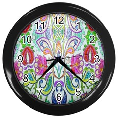 Wallpaper Created From Coloring Book Wall Clocks (Black)