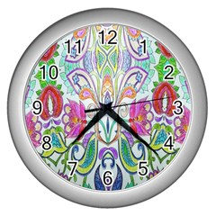 Wallpaper Created From Coloring Book Wall Clocks (Silver)
