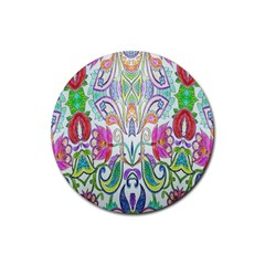 Wallpaper Created From Coloring Book Rubber Round Coaster (4 Pack)