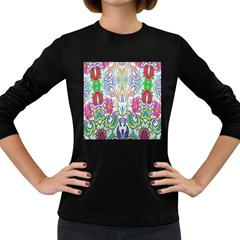 Wallpaper Created From Coloring Book Women s Long Sleeve Dark T-Shirts