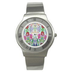 Wallpaper Created From Coloring Book Stainless Steel Watch