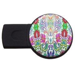 Wallpaper Created From Coloring Book Usb Flash Drive Round (4 Gb)