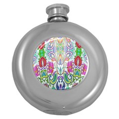 Wallpaper Created From Coloring Book Round Hip Flask (5 Oz)