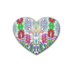 Wallpaper Created From Coloring Book Rubber Coaster (heart)