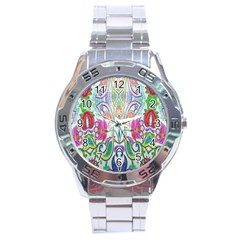 Wallpaper Created From Coloring Book Stainless Steel Analogue Watch