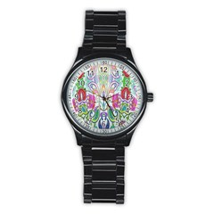 Wallpaper Created From Coloring Book Stainless Steel Round Watch