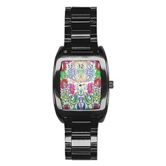 Wallpaper Created From Coloring Book Stainless Steel Barrel Watch