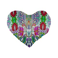 Wallpaper Created From Coloring Book Standard 16  Premium Flano Heart Shape Cushions